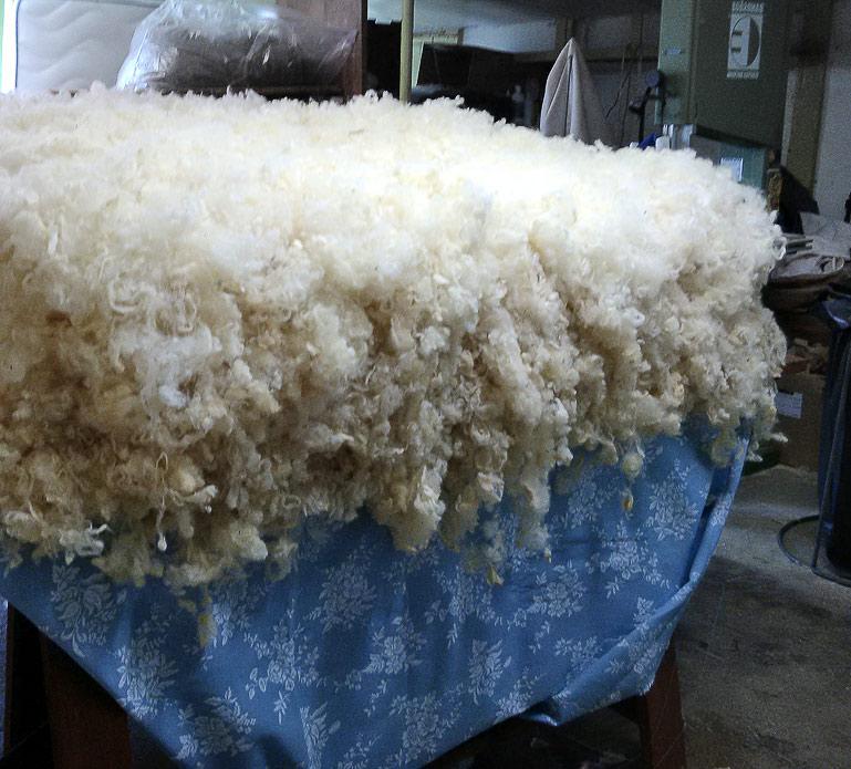 garniture d'un matelas de laine